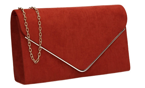 Poppy Faux Suede Envelope Clutch Bag Rust Red