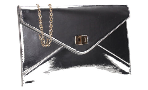 SWANKYSWANS Sarah Envelope Clutch Bag Silver Cute Cheap Clutch Bag For Weddings School and Work