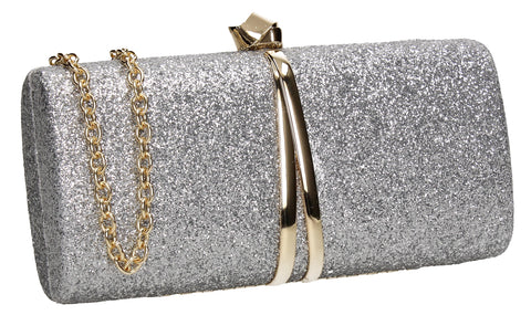SWANKYSWANS Daisy Clutch Bag Silver Cute Cheap Clutch Bag For Weddings School and Work