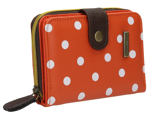 Swanky Swank Bella Small Polka Dot Purse OrangeCheap Cute School Wallets Purses Bags Animal