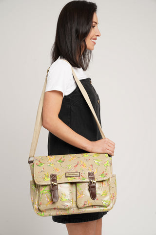 Leila Bird Satchel Bag Beige