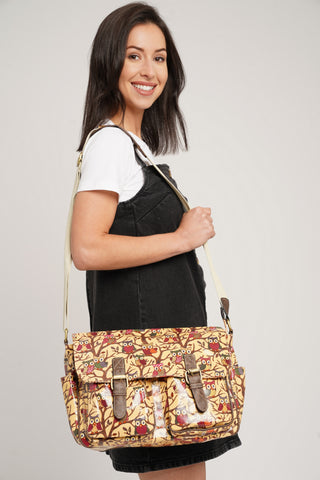 Classic Tree Owl Double Pocket Satchel Beige