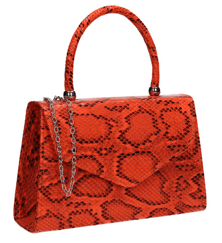 Lucy Mini-Handbag Faux Leather Snakeskin Effect Clutch Bag Scarlet Red