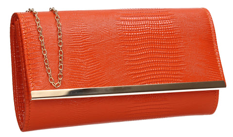 Ronai Flapover Faux Leather Clutch Bag Scarlet Orange