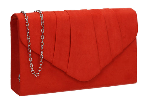 Iggy Faux Suede Clutch Bag Scarlet