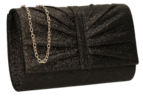 SwankySwans Serafina Clutch Bag Black Clutch Bag Flapover Gliter Night Out Party Satin