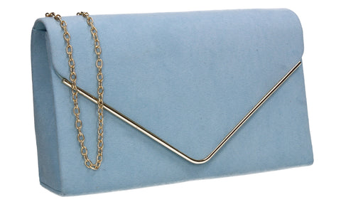 Poppy Faux Suede Envelope Clutch Bag Serenity Blue