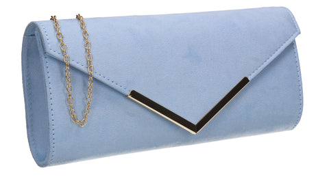 Leona Envelope Faux Suede Clutch Bag Serenity