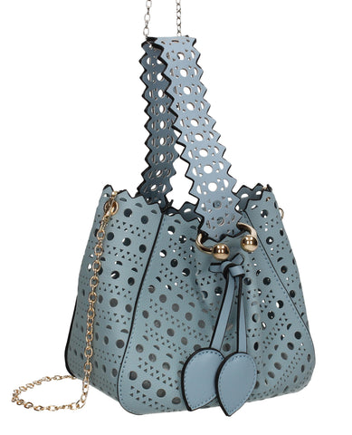 Tegan Laser Cut Detail Bucket Grab Bag Serenity Blue