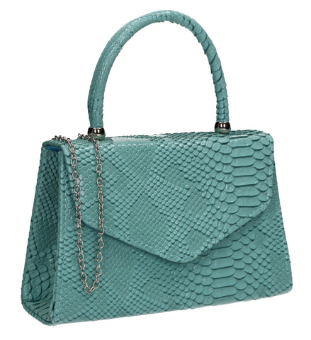 Lucy Mini-Handbag Faux Leather Snakeskin Effect Clutch Bag Serenity Blue