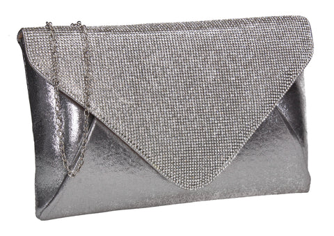 SWANKYSWANS Jean Diamante Slim Clutch Bag Silver