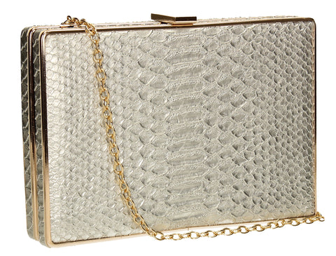 Sandy Snakeskin Box Clutch Silver