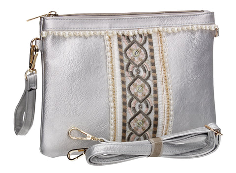 SWANKYSWANS Delilah Clutch Bag Silver Cute Cheap Clutch Bag For Weddings School and Work
