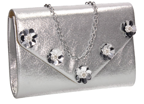 SWANKYSWANS Josie Clutch Bag Silver Cute Cheap Clutch Bag For Weddings School and Work