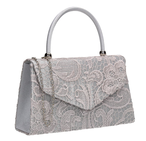 Kendall Lace Clutch Bag Silver