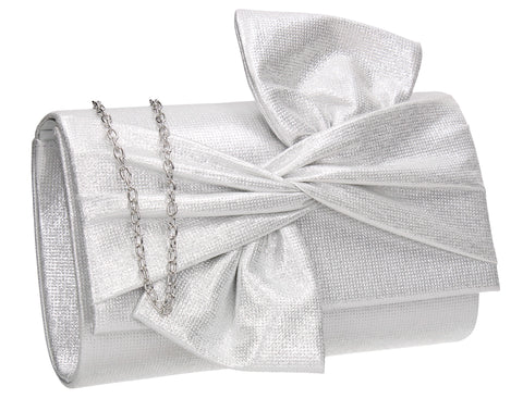 June Bow Style Clutch Bag Silver