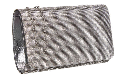 Hallie Diamante Clutch Bag Silver