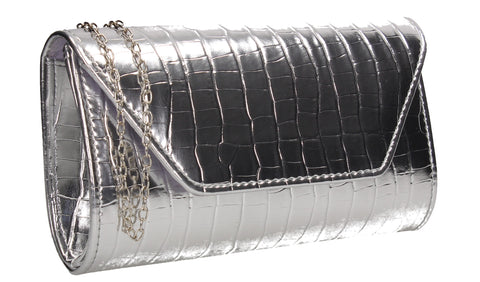 Erin Croc Effect Clutch Bag Silver