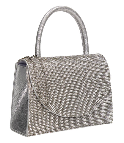 Eleanor Diamante Handheld Clutch Bag Silver