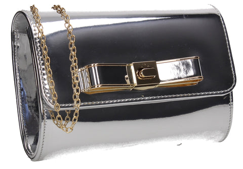 Ozcar Shiny Clutch Bag Silver