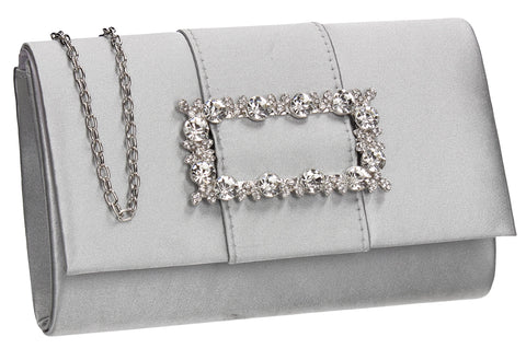 Kenzie Flapover Faux Gem Satin Clutch Bag Silver