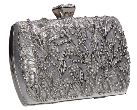 Claire Floral Diamante Detail Box Shape Clutch Bag Silver