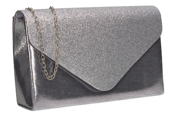 Kelly Glitter Clutch Bag Silver
