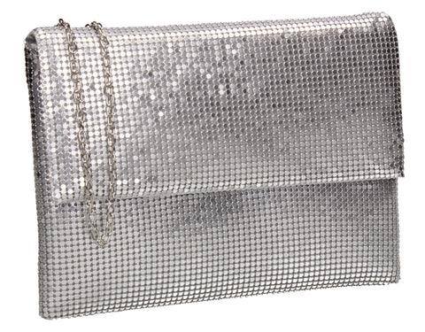 Daniella Sequin Flapover Clutch Bag Silver
