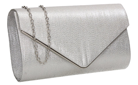 SWANKYSWANS Maya Clutch Bag Silver Cute Cheap Clutch Bag For Weddings School and Work