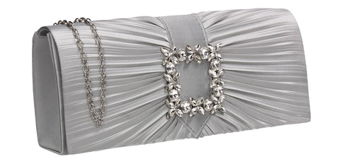 Chloe Satin Clutch Bag Silver