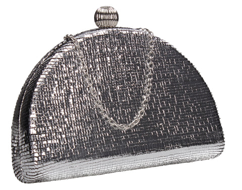 Felicity Semi Circle Diamante Clutch Bag Silver