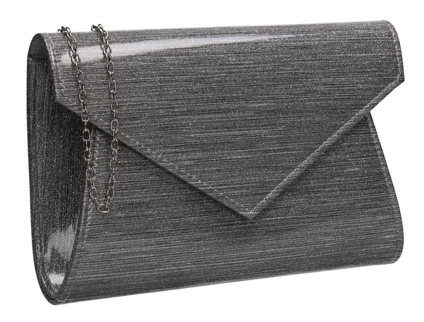 Zoe Sparkly Envelope Clutch Bag Silver