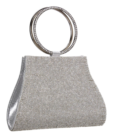 SWANKYSWANS Macie Diamante Ring Clutch Bag Silver Cute Cheap Clutch Bag For Weddings School and Work