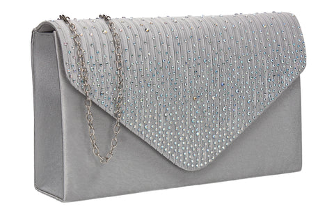 Abby Diamante Clutch Bag Silver