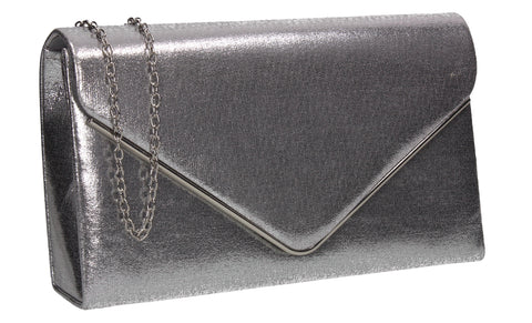 Poppy Synthetic Envelope Clutch Bag Silver