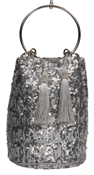 Denise Sequin & Ring Clutch Bag Silver