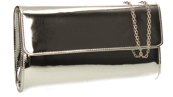 Cara Metallic Clutch Bag Silver