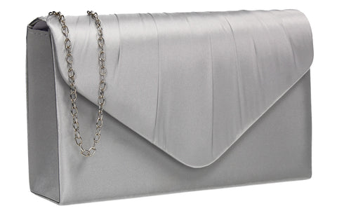 Chantel Beautiful Satin Envelope Clutch Bag Silver
