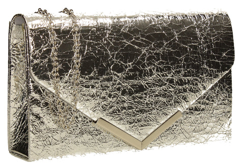 SWANKYSWANS Anastasia Clutch Bag Silver Cute Cheap Clutch Bag For Weddings School and Work