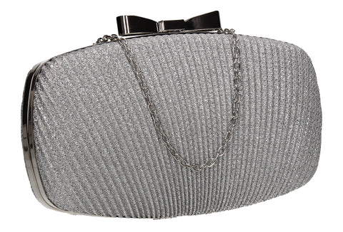Gwen Synthetic Glitter Box Shape Clutch Bag Silver
