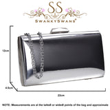 SWANKYSWANS Finley Clutch Bag Silver Cute Cheap Clutch Bag For Weddings School and Work