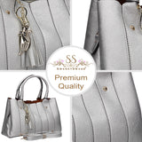 Casey Tassle Handbag SilverBeautiful Cute Animal Faux Leather Clutch Bag Handles Strap Summer School