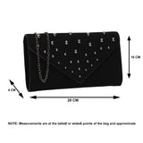 SWANKYSWANS Nissa Faux Suede Clutch Bag Black Cute Cheap Clutch Bag For Weddings School and Work