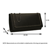 SWANKYSWANS Ella Chain Flapover Clutch Bag Black Cute Cheap Clutch Bag For Weddings School and Work