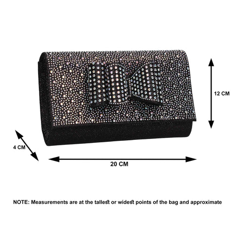 Willa Glitter Bow Clutch Bag Black