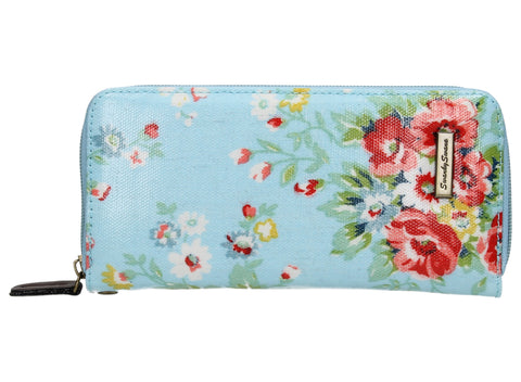 Hayley Floral Large Zipped Wallet - Light Blue-Purse-SWANKYSWANS
