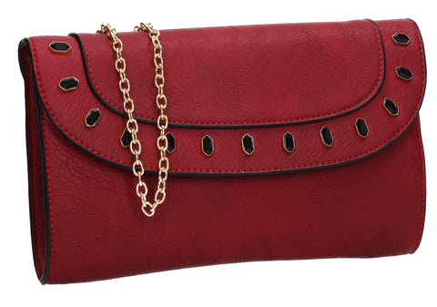 SWANKYSWANS Tiare Onyx Style Clutch Bag Burgundy Cute Cheap Clutch Bag For Weddings School and Work
