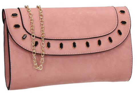 SWANKYSWANS Tiare Onyx Style Clutch Bag Pink Cute Cheap Clutch Bag For Weddings School and Work