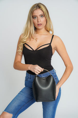 Melany 2 in 1 Crossbody Bucket Bag Black