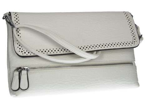 SWANKYSWANS Arialle Dotted Detail Clutch Bag White Cute Cheap Clutch Bag For Weddings School and Work